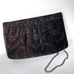 Vintage Paisley Velvet Clutch Evening Bag w/Strap